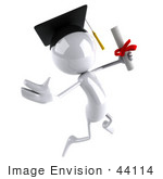 #44114 Royalty-Free (Rf) Illustration Of A 3d White Man Mascot Graduate Holding A Diploma - Version 5