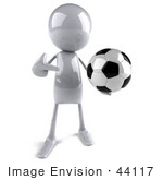 #44117 Royalty-Free (Rf) Illustration Of A 3d White Man Mascot Playing Soccer - Version 1