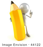 #44122 Royalty-Free (Rf) Illustration Of A 3d White Man Mascot Holding A Large Pencil - Version 1