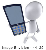 #44125 Royalty-Free (Rf) Illustration Of A 3d White Man Mascot Holding A Cell Phone - Version 2