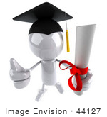 #44127 Royalty-Free (Rf) Illustration Of A 3d White Man Mascot Graduate Holding A Diploma - Version 7