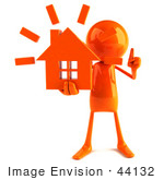 #44132 Royalty-Free (Rf) Illustration Of A 3d Red Man Mascot Holding A House