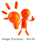#44134 Royalty-Free (Rf) Illustration Of A 3d Red Man Mascot Holding A Light Bulb - Version 2