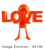 #44136 Royalty-Free (Rf) Illustration Of A 3d Red Man Mascot Holding Love
