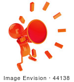#44138 Royalty-Free (Rf) Illustration Of A 3d Red Man Mascot Yelling Through A Megaphone