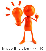 #44140 Royalty-Free (Rf) Illustration Of A 3d Red Man Mascot Holding A Light Bulb - Version 1