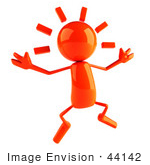 #44142 Royalty-Free (Rf) Illustration Of A 3d Red Man Mascot Jumping