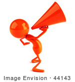 #44143 Royalty-Free (Rf) Illustration Of A 3d Red Man Mascot Using A Megaphone