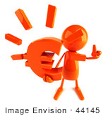 #44145 Royalty-Free (Rf) Illustration Of A 3d Red Man Mascot Holding A Euro Symbol