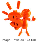 #44150 Royalty-Free (Rf) Illustration Of A 3d Red Man Mascot Holding A Dollar Symbol