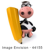 #44155 Royalty-Free (Rf) Illustration Of A 3d Dairy Cow Mascot With A Pencil - Pose 2