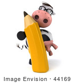 #44169 Royalty-Free (Rf) Illustration Of A 3d Dairy Cow Mascot With A Pencil - Pose 1
