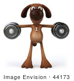 #44173 Royalty-Free (Rf) Cartoon Illustration Of A 3d Brown Dog Mascot Lifting Weights - Pose 4