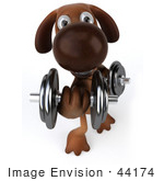 #44174 Royalty-Free (Rf) Cartoon Illustration Of A 3d Brown Dog Mascot Lifting Weights - Pose 3