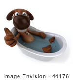 #44176 Royalty-Free (Rf) Cartoon Illustration Of A 3d Brown Dog Mascot Taking A Bath - Pose 5