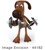 #44182 Royalty-Free (Rf) Cartoon Illustration Of A 3d Brown Dog Mascot Lifting Weights - Pose 1