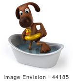 #44185 Royalty-Free (Rf) Cartoon Illustration Of A 3d Brown Dog Mascot Taking A Bath - Pose 2