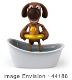 #44186 Royalty-Free (Rf) Cartoon Illustration Of A 3d Brown Dog Mascot Taking A Bath - Pose 1