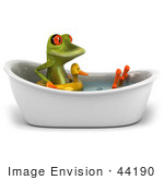 #44190 Royalty-Free (Rf) Illustration Of A 3d Red Eyed Tree Frog Mascot Taking A Bath - Pose 4
