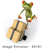 #44191 Royalty-Free (Rf) Illustration Of A 3d Red Eyed Tree Frog Mascot Delivering Boxes