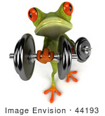 #44193 Royalty-Free (Rf) Illustration Of A 3d Red Eyed Tree Frog Mascot Lifting Weights - Pose 6