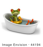 #44194 Royalty-Free (Rf) Illustration Of A 3d Red Eyed Tree Frog Mascot Taking A Bath - Pose 3