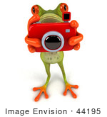 #44195 Royalty-Free (Rf) Illustration Of A 3d Red Eyed Tree Frog Mascot Taking Pictures - Pose 1