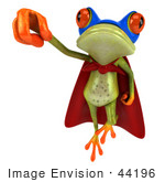 #44196 Royalty-Free (Rf) Illustration Of A 3d Red Eyed Tree Frog Mascot Super Hero - Pose 7