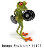 #44197 Royalty-Free (Rf) Illustration Of A 3d Red Eyed Tree Frog Mascot Lifting Weights - Pose 4