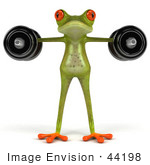#44198 Royalty-Free (Rf) Illustration Of A 3d Red Eyed Tree Frog Mascot Lifting Weights - Pose 7
