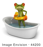 #44200 Royalty-Free (Rf) Illustration Of A 3d Red Eyed Tree Frog Mascot Taking A Bath - Pose 2