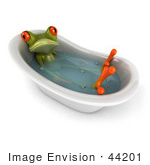 #44201 Royalty-Free (Rf) Illustration Of A 3d Red Eyed Tree Frog Mascot Taking A Bath - Pose 1