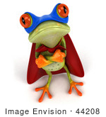 #44208 Royalty-Free (Rf) Illustration Of A 3d Red Eyed Tree Frog Mascot Super Hero - Pose 5