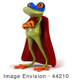 #44210 Royalty-Free (Rf) Illustration Of A 3d Red Eyed Tree Frog Mascot Super Hero - Pose 4