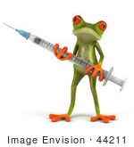 #44211 Royalty-Free (Rf) Illustration Of A 3d Red Eyed Tree Frog Mascot Holding A Syringe - Pose 1
