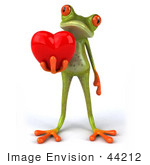#44212 Royalty-Free (Rf) Illustration Of A 3d Red Eyed Tree Frog Mascot Presenting A Heart- Pose 2
