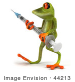 #44213 Royalty-Free (Rf) Illustration Of A 3d Red Eyed Tree Frog Mascot Holding A Syringe - Pose 2