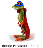 #44215 Royalty-Free (Rf) Illustration Of A 3d Red Eyed Tree Frog Mascot Super Hero - Pose 2