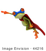 #44216 Royalty-Free (Rf) Illustration Of A 3d Red Eyed Tree Frog Mascot Super Hero - Pose 9