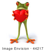 #44217 Royalty-Free (Rf) Illustration Of A 3d Red Eyed Tree Frog Mascot Presenting A Heart- Pose 1