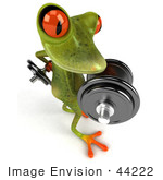 #44222 Royalty-Free (Rf) Illustration Of A 3d Red Eyed Tree Frog Mascot Lifting Weights - Pose 5