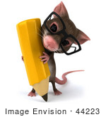 #44223 Royalty-Free (Rf) Illustration Of A 3d Mouse Mascot Holding A Pencil - Pose 2