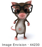 #44230 Royalty-Free (RF) Illustration of a 3d Mouse Mascot Wearing Spectacles - Pose 2 by Julos