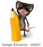 #44231 Royalty-Free (Rf) Illustration Of A 3d Mouse Mascot Holding A Pencil - Pose 1