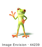 #44239 Royalty-Free (Rf) Illustration Of A Cute Green 3d Frog Waving - Pose 3