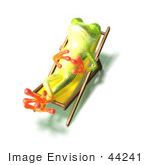 #44241 Royalty-Free (Rf) Illustration Of A Cute Green 3d Frog Sun Bathing - Pose 2