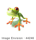 #44246 Royalty-Free (Rf) Illustration Of A Cute Green 3d Frog Curiously Looking At The Viewer