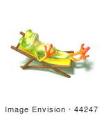 #44247 Royalty-Free (Rf) Illustration Of A Cute Green 3d Frog Sun Bathing - Pose 3