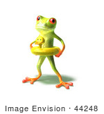 #44248 Royalty-Free (Rf) Illustration Of A Cute Green 3d Frog Wearing A Ducky Inner Tube - Pose 1