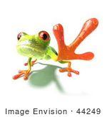 #44249 Royalty-Free (Rf) Illustration Of A Cute Green 3d Frog Reaching Outwards With His Foot - Version 2